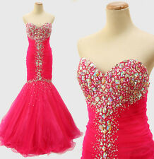 NEW $500 Jovani Hot Pink Strapless Mermaid Long Gown Prom Formal Size 2 Evening