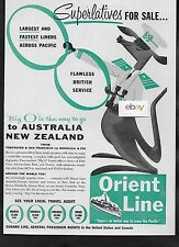 ORIENT LINE LARGEST & FASTEST LINERS TO AUSTRALIA JOEY SUPERLATIVES FOR SALE AD