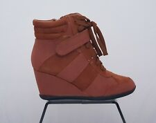 Women's Suede Leather Orange Wedge Trainers Boots UK Size 3