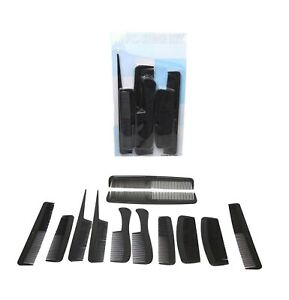 12 x PACK MENS BLACK HAIR STYLE ASSORTED COMBS SALON BARBER SET**NEW