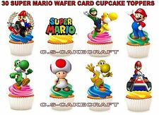 30 SUPER MARIO STAND UP BIRTHDAY PARTY EDIBLE PAPER CUPCAKE FAIRY CAKE TOPPERS