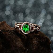 Solid 18kt Rose Gold Diamond Green Tsavorite Engagement Wedding Gemstone Ring