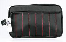 Kulturtasche Kulturbeutel schwarz mit roten Streifen+Vortasche, Klassiker, Nylon
