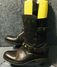Area Forte Brown Buckle Studs Buckles Leather Ankle Boots Size EU37/US6.5