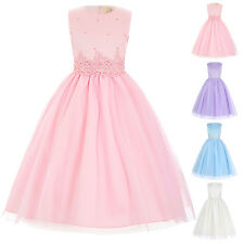 Flower Girl Princess Bridesmaid Wedding Pageant  Formal Party Long Dress 5 Color