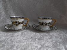 Pair of White/Black/Gold Enamelware Demitasse Cup & Saucer