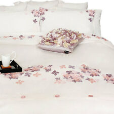 Cotton Quilt or Doona Cover Floral Pink fabric embroidered appliqué on White