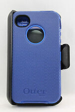 OtterBox Defender Hard Rugged Case w/Holster Belt Clip for iPhone 4s 4 Blue USED