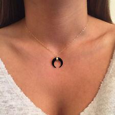 Gothic Black Crescent Moon White/Black Bone Double Horn Necklace Pendant Pendant