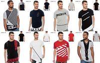 Men TRUE ROCK Red Grey White Black Navy Crew Neck Zip T-Shirt Size S M L XL 2XL