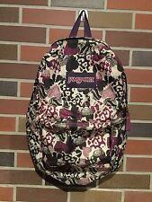 Jansport Girls Hearts Colorful Purple 2 Pocket Backpack Book Bag