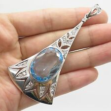 925 Sterling Silver Natural  Blue & White Topaz Gemstone Large Pendant