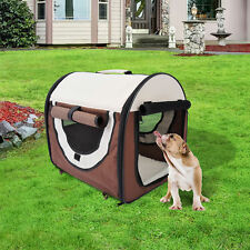 Pet Carrier Cage Travel Puppy Dog Cat Fabric Portable Foldable Kennel Brown