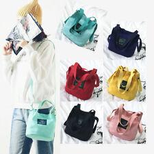 Womens Canvas Bucket Shoulder Bag Mini Portable Bucket look Handbag Travel Tote