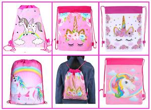 Unicorn Pink Drawstring Bag Gym Swim School Sports Nursery Flying Horse PE Kids