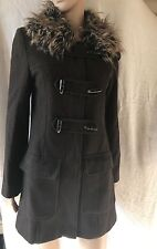 LAURA ASHLEY, SIZE 8, EUR 34, BROWN FAUX FUR COLLAR COAT/JACKET, PRE-LOVED