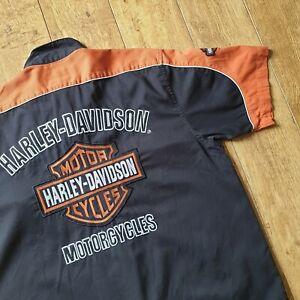 Harley Davidson Shirt Button Up Garage Mechanic Style L