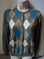 346 Brooks Brothers Women Argyle Design Merino Wool Cardigan Sweater Sz M