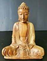 VINTAGE HAND CARVED WOOD BUDDHA STATUE SCULPTURE FIGURE SITTING MEDITATION POSE