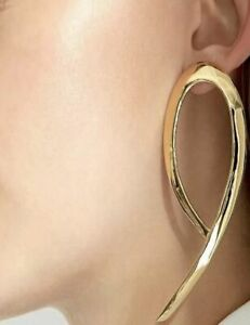 Gold Dent Textured Geometric Drop Hoop Earrings