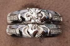 14k White Gold Irish Claddagh Diamonds Engagement Bridal Set Wedding Rings Heart