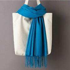 Echarpe Pashmina Cashmere Bleu Turquoise avec Franges - Bijoux des Lys