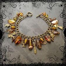Woodland goddess charm bracelet, wood witch, Autumn tones, bronze, pagan