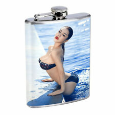 Rock & Roll Pin Up Girls D10 Flask 8oz Stainless Steel Hip Drinking Whiskey