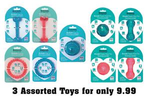 Rosewood BioSafe Puppy Dog Toys x 3 asst - Chew Teeth Dental Floating Tough