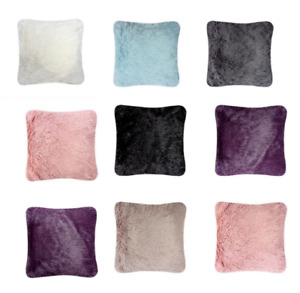 HUG & SNUG Fluffy Fur Cushion Covers only or with Filling Sofa Bed Chair 45x45cm