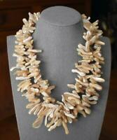 GORGEOUS DBL STRAND POLISHED ELONGATED SHELL NECKLACE WITH STERLING SILVER CLASP