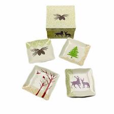 Woodland Silhouette Deer Tree Birds Pine Ceramic Mini Plates Set of 4