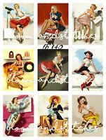Vintage Retro Chic 50's Pin Up Ladies 9 Prints on 1 Fabric Block Quilting fb 140