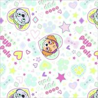 PUP PALS 4EVER Paw Patrol WHITE Print 100% cotton Flannel Fabric Remnant 33""