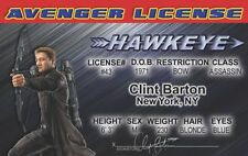 HAWKEYE the archer the Avengers Marvel Comic Jeremy Renner card Drivers License
