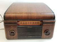 Antique Table Top RCA Victor Victrola Record Player Model 55U Tube Radio Combo