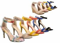 NEW Womens Open Toe Wedge High Heel Ankle Strap Buckle Dress Pump Sandals 5 - 11