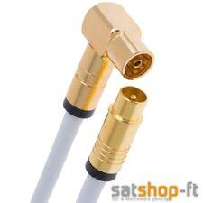 15m Antennenkabel Digital TV Kabel 135db Koax Stecker 90° Buchse VERGOLDET HD 4K