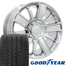 20x9 Wheels & Tires Fit GM Trucks and SUVs - Silverado Style Chrome Rims w/tires