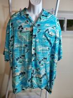 Ocean Current VTG Turquoise Printed Surfers and Palm Trees Hawaiian Shirt  XL