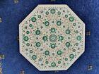 """Gorgeous 16"""" Pietra Dura Octagonal Table, Malachite Marquetry Inlay, Pine Base"""