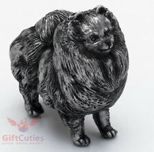 Tin Pewter Figurine of Pomeranian Spitz Dog IronWork