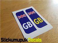 Pair GB Flag Union Jack Car Number Plate Vinyl Stickers UK legal Peel & Stick