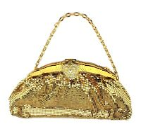 WHITING & DAVIS Ladies Gold Flat Mesh Art Deco Evening Bag 1930's-40's Very Nice