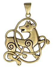 Bronze Celtic Knot Wolf Pendant - Knotwork Totem Animal Jewelry Dryad Design