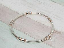 Sterling Silver & Rose Gold Noodle Stretch Stacking Bracelet