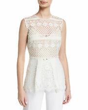 Elie Tahari Alessandra Women's Blouse Sz 6 Ivory Floral Crochet Lace Peplum Top