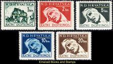 EBS Croatia Hrvatska NDH 1944 Red Cross obligatory tax set Michel Z3-Z7 MNH**