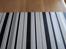 1.5M x65cm BLACK SILVER WHITE STRIPE STICKY BACK PLASTIC SELF ADHESIVE VINYL FLM