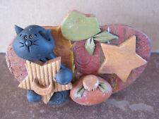 Unique Handmade FIMO Polymer Clay NO MOLD USED Halloween Plaque Cat Stars Pumkin